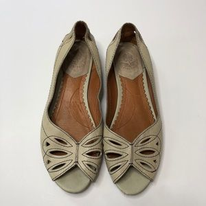 LUCKY BRAND tan peep toe cut out flats 6.5 shoes